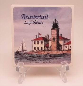 Beavertail Lighthouse Stone Coaster